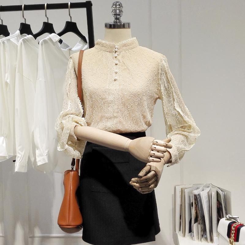 2018秋装新款纯色蕾丝衫女装长袖遮肚子显瘦上衣衬衫打底衫A015