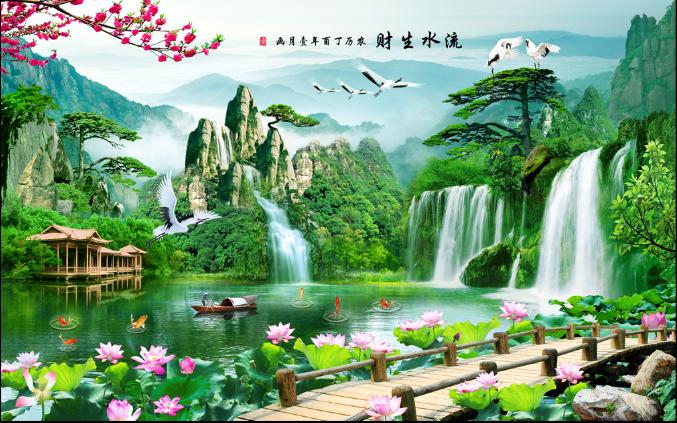 山水风景画中式自粘墙贴大型壁画客厅电视背景墙画墙壁纸流水生财(用1元券)