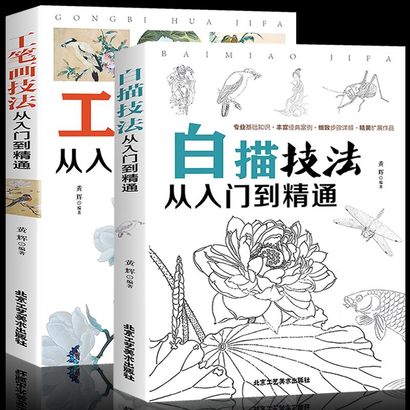 教程零基础学水墨中国画教材书籍写意花卉草虫美术绘画技法从入门到精通白描技法从入门到精通+工笔画正版包邮册2全套