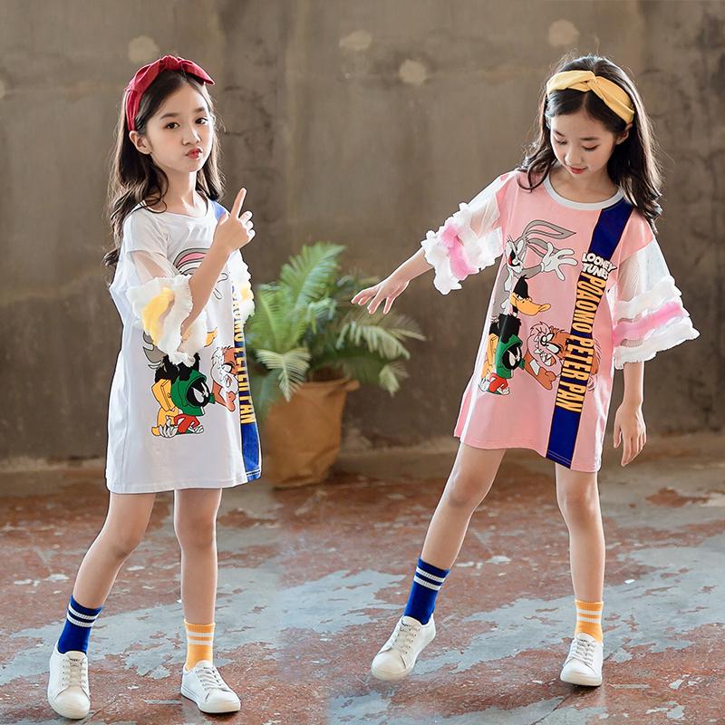 女童连衣裙2018韩版运动学院风洋气儿童短袖中大童长款T恤母女装