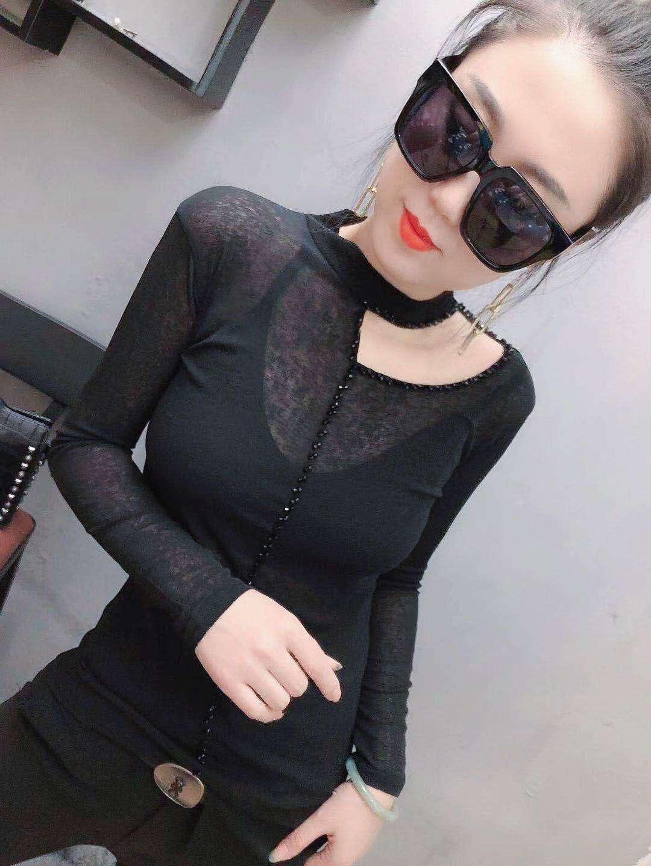 2020夏季新款长袖T恤女时尚修身黑色小衫精品百搭薄款女装流行款