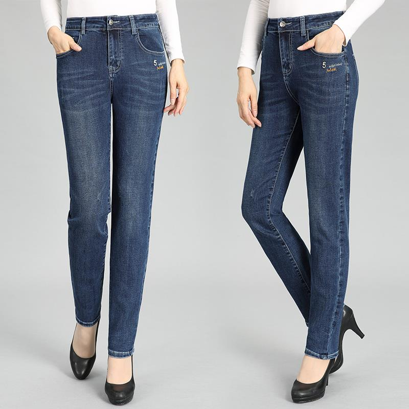 Stretch jeans, flared pants, spring and autumn trousers for middle-aged and old mothers, NV large female Tula balabaku.