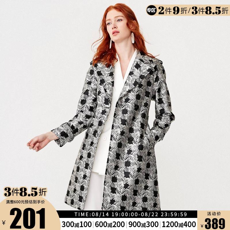 419121503思莱德格子提花双排扣女士风衣外套SELECTED折8.5件3