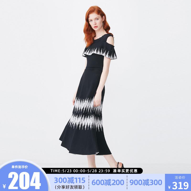 绫致SELECTED思莱德法式复古拼色提花漏肩针织连衣裙419146503图片