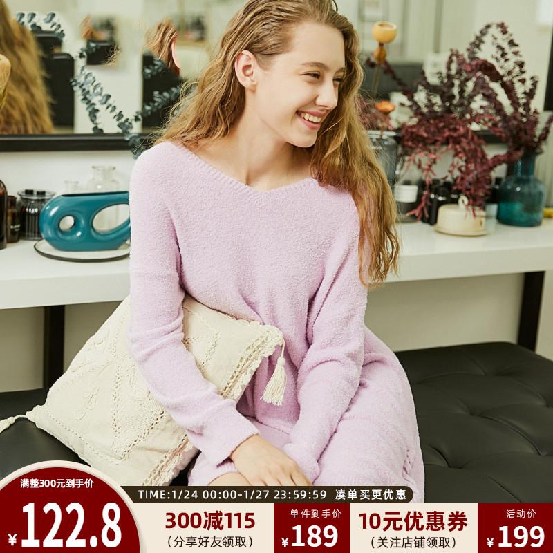 绫致Vero Moda新款秋冬甜美毛绒绒连衣裙居家服睡衣女|318446510