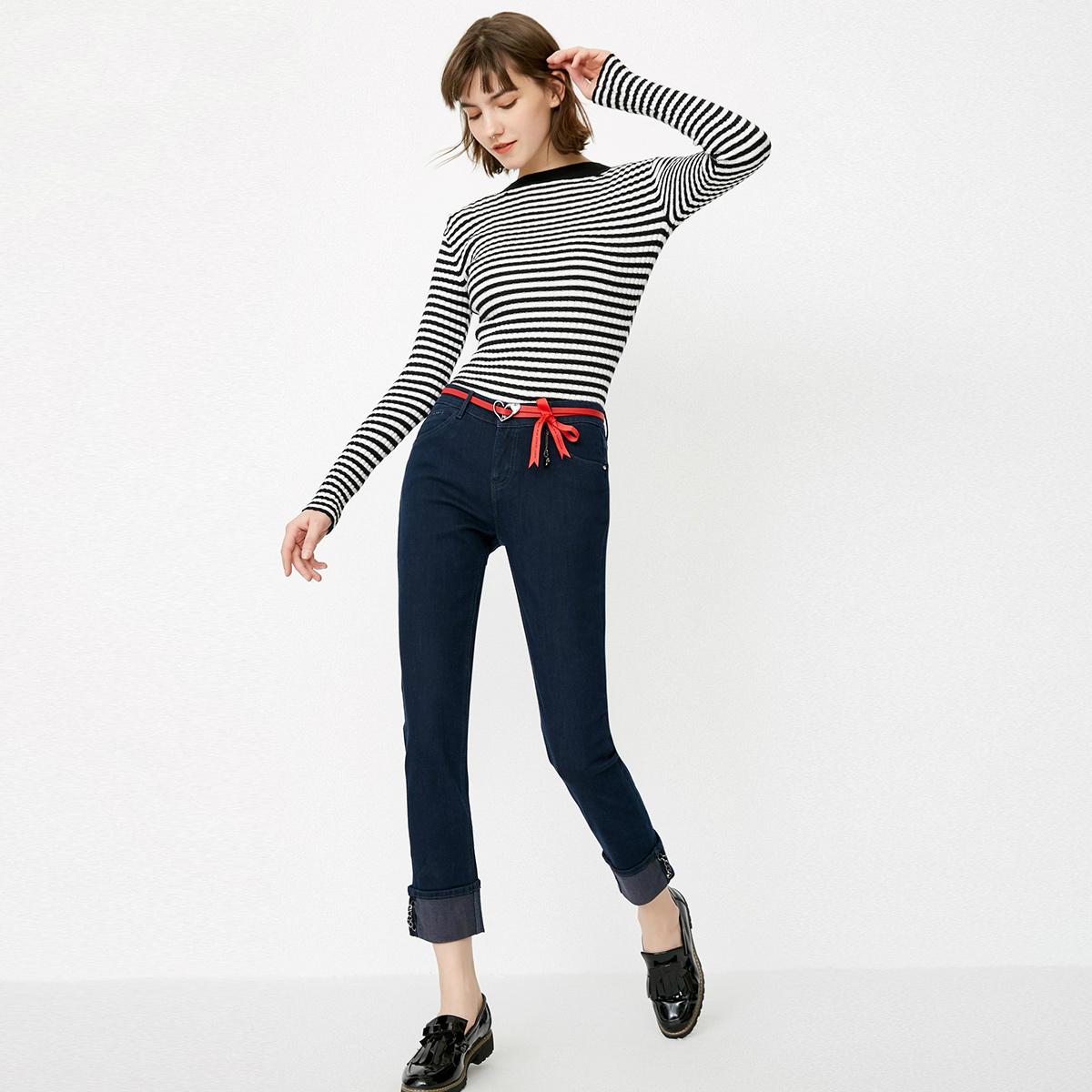 绫致|ONLY夏季新款简约卷边修身显瘦九分牛仔裤女|118149542