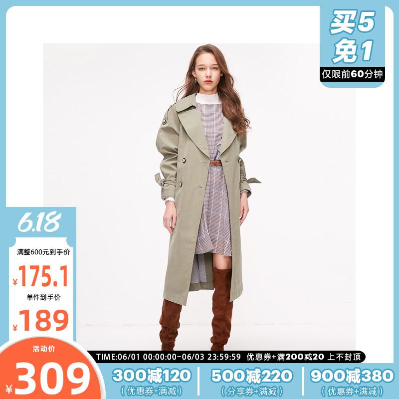 119136502ONLY绫致春夏新款时尚气质英伦洋气薄款长款风衣外套女