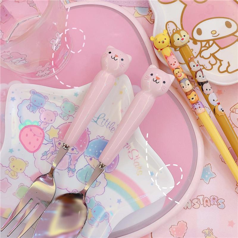 可爱卡通陶瓷粉色猫咪勺子叉子餐具不锈钢儿童学生家用长柄汤勺叉图片