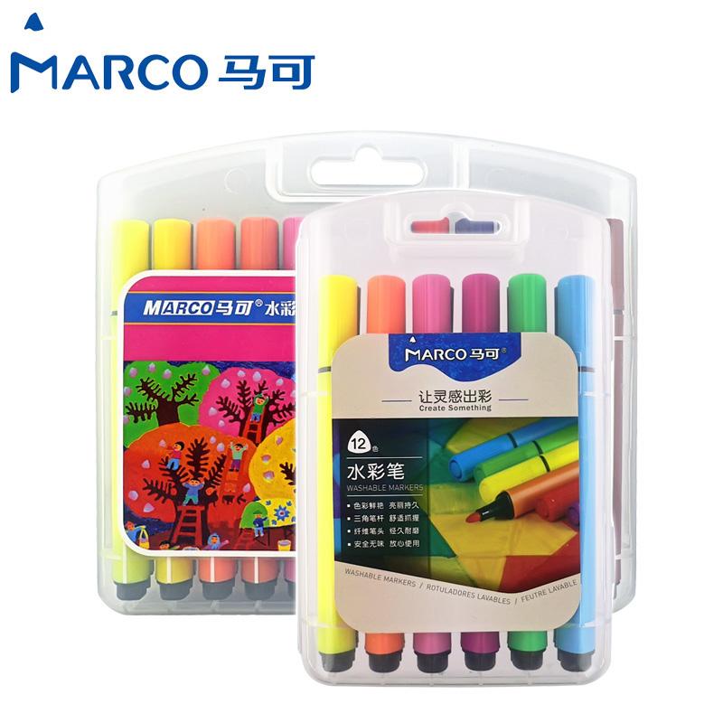 MARCO лошадь может 1232 12 24 36 цвет ребенок легко рукоятка грубый треугольник поляк моющиеся акварель