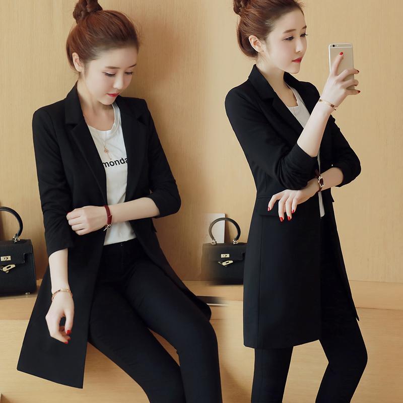 2017春季新款黑色休闲小西装女外套韩版修身显瘦中长款 1701