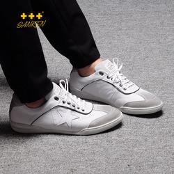Sanken新款韩版男鞋运动休闲皮鞋百搭低帮真皮板擦色做旧男鞋个性