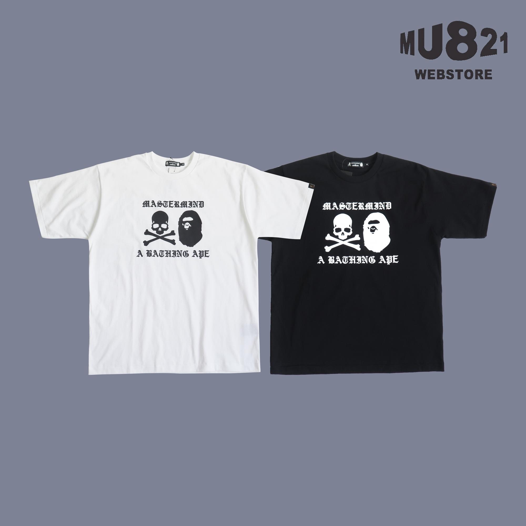MU821现货 BAPE MMJ SS TEE英文字骷髅猿人头印花短袖T恤男女夏天