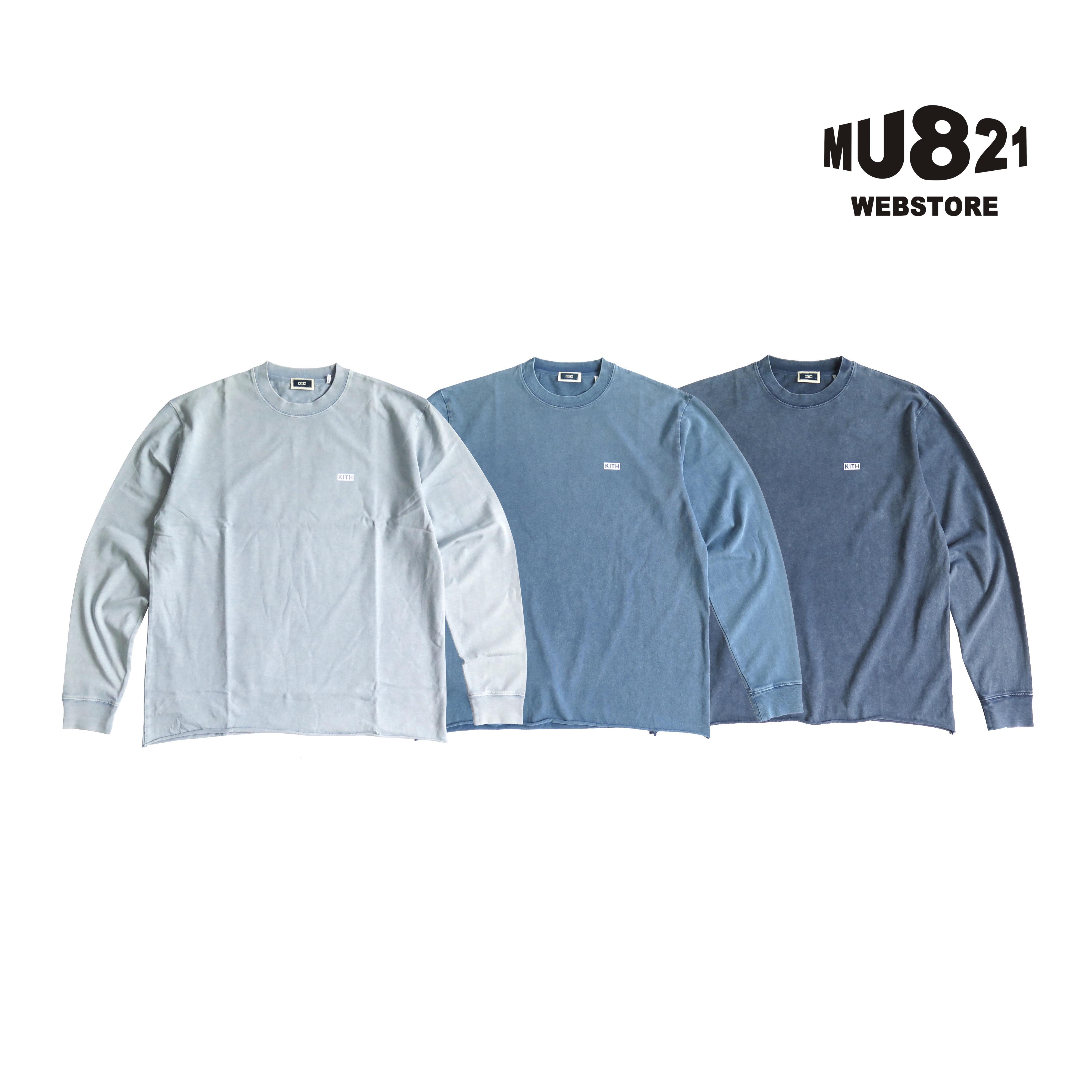 MU821现货KITH LS LAX PIGMENT DYED T SHIRT蓝染牛仔纯色长袖T恤