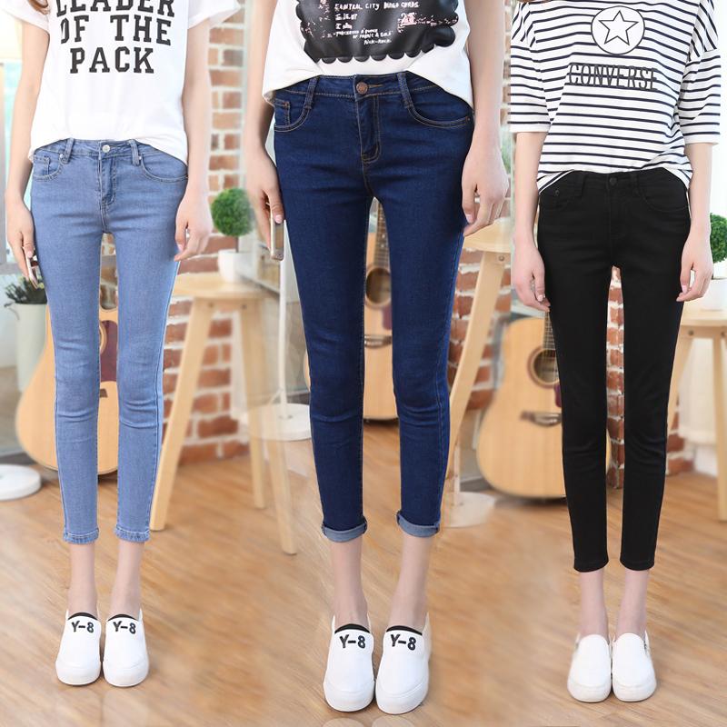 夏季薄款九分牛仔裤女生弹力紧身显瘦nzk小码25学生纯色小脚8分裤图片