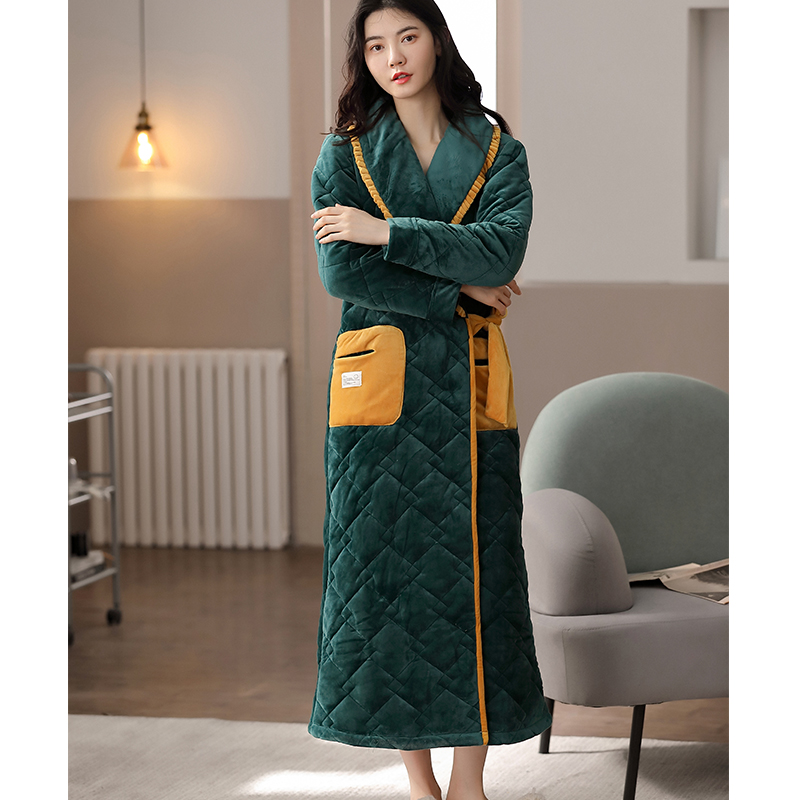 Winter flannel couple robe three layers mixed with cotton womens thickened warm bathrobe mens long bathrobe home clothes