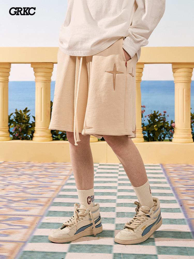 タオバオ仕入れ代行-ibuy99 皮革裤男 GRKC中国皮革星星短裤国潮牌街头嘻哈情侣宽松休闲男女夏季短裤