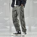 七号宇宙春季 复古侧边卷边设计宽松纯色直筒工装 男 裤 原创潮流美式
