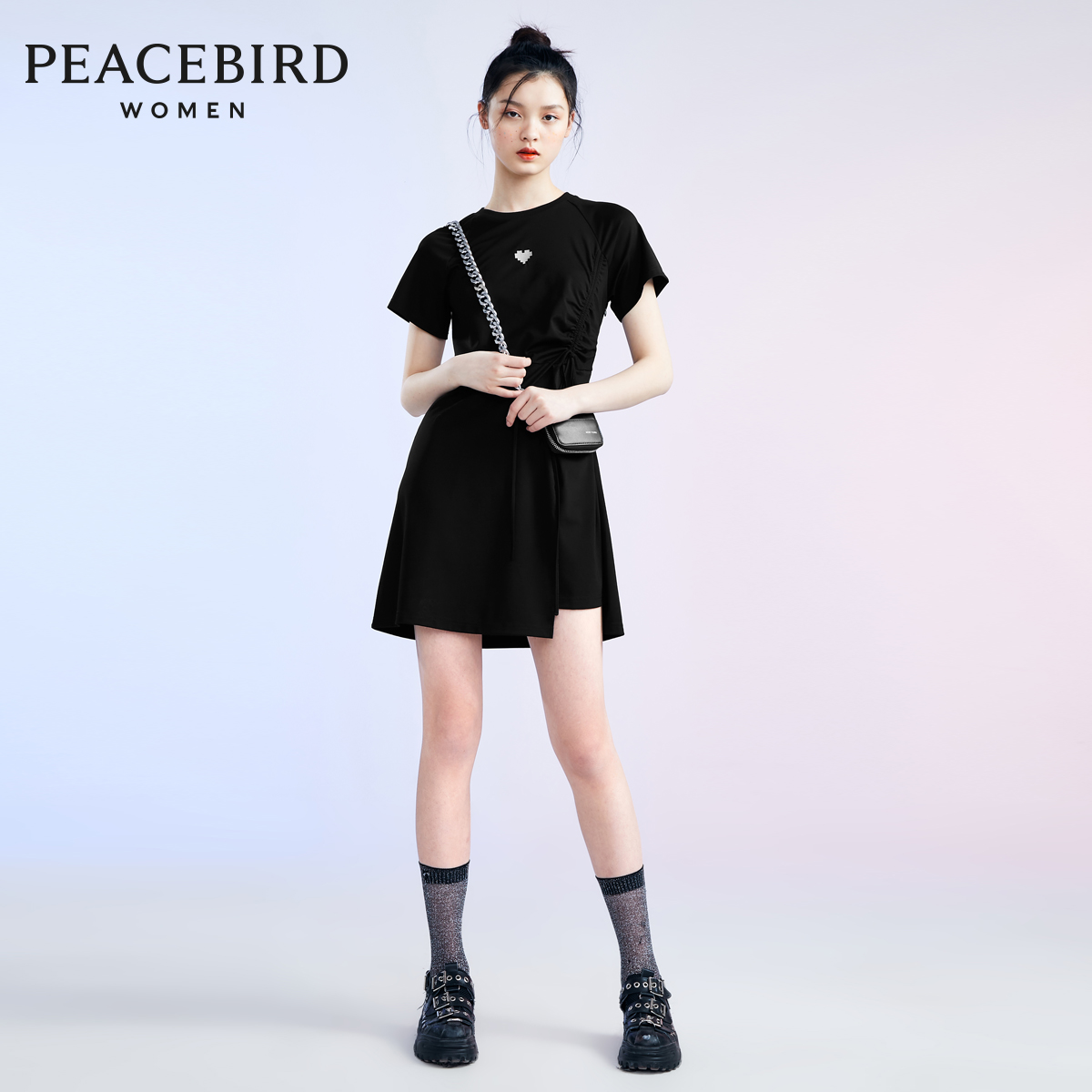 Taiping bird Black Slim Fit T-shirt skirt women 2020 summer new short sleeve round neck waistband dress simple pleating
