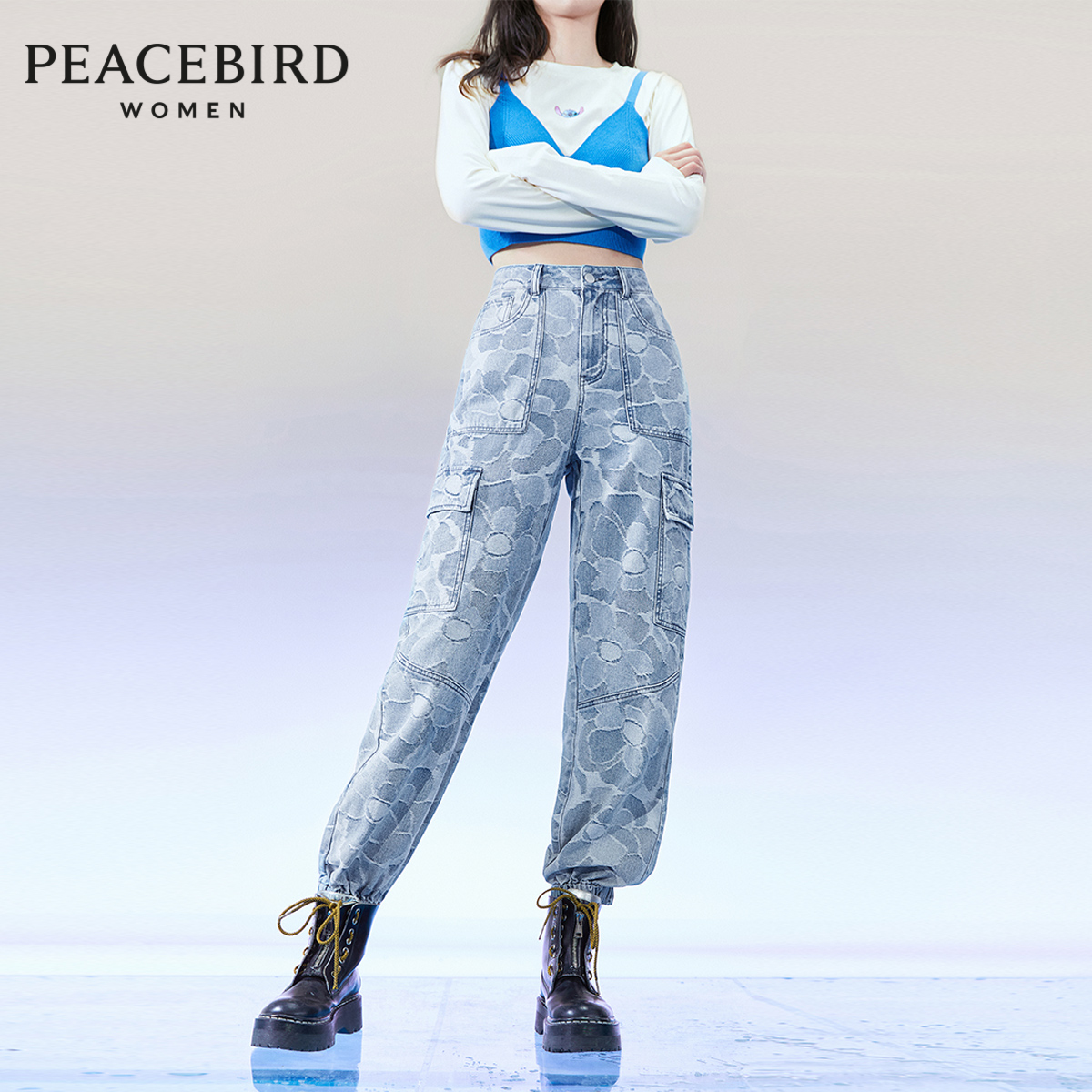 Taiping bird high waist casual jeans women's 2020 summer new full print tooling binding loose skinny jeans