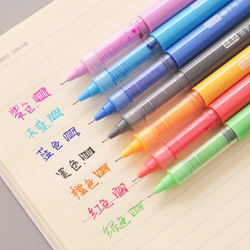 爱好创意直液式走珠笔彩色中性笔0.5全针管学生大容量水笔手账笔