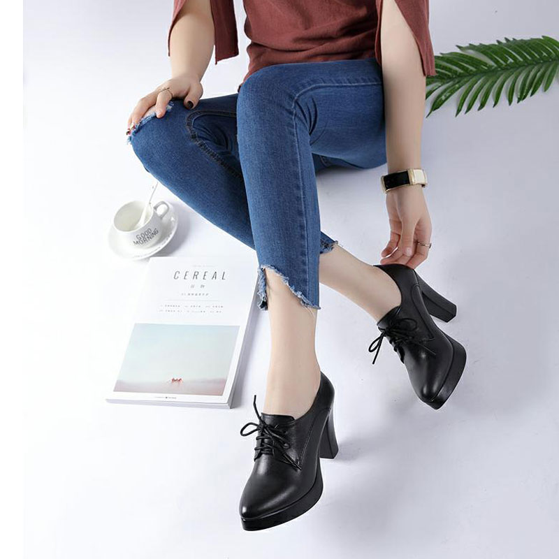 Pointed lace up single shoes womens leather autumn fashion versatile size 33 deep mouth high heel thick heel thick sole large 41-43