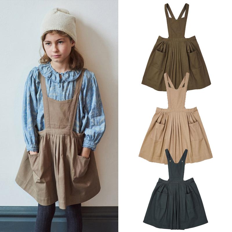 萝拉宝贝现货 英国 caramel CBC  19秋冬女童经典复古兜兜背带裙