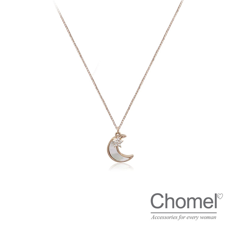 Singapore chomel necklace with diamond head ornament Crystal Pearl Star Moon Pendant Necklace birthday gift