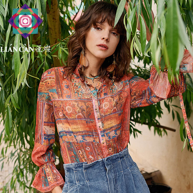 Liancan 2021 spring new style Ruffle stand collar retro Bohemian style national personality high end long sleeve shirt girl