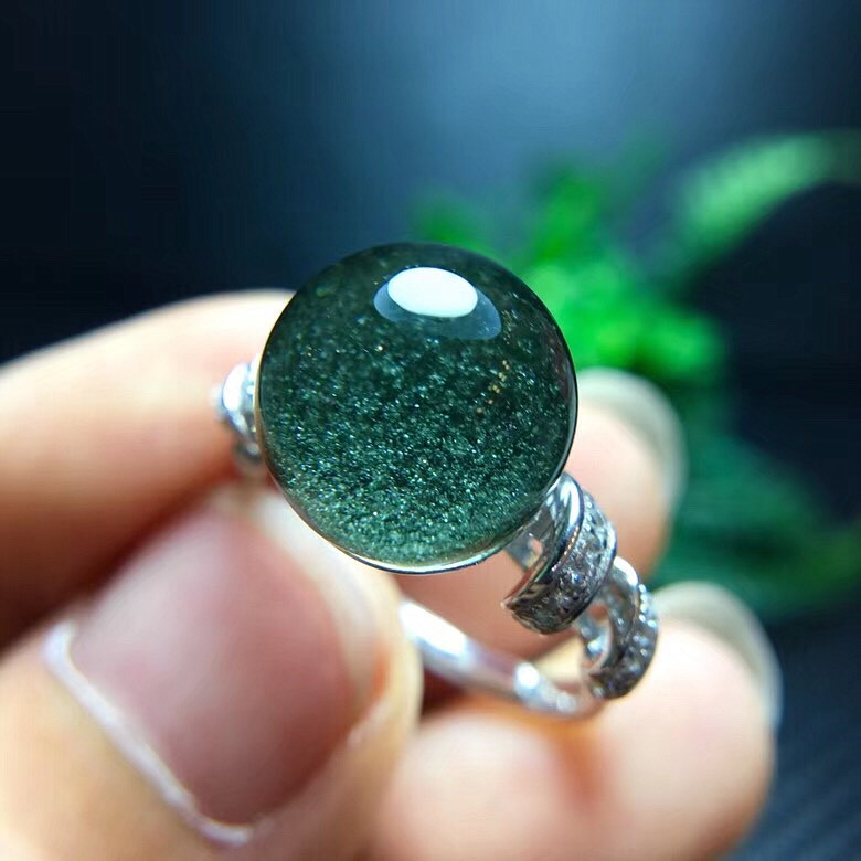 Natural green ghost color ghost hair crystal titanium crystal various crystal rings 925 silver inlaid mens and womens rings attract money
