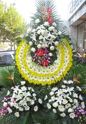 白事丧葬鲜花花篮 追悼会奠仪用花 黄色白色菊花百合花花篮花圈