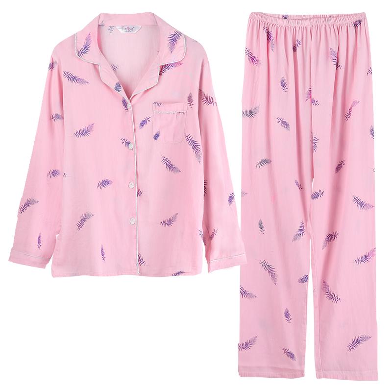 大码春夏纯棉长袖睡衣两件套