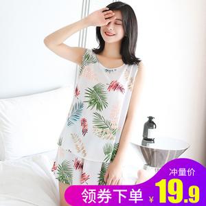 棉绸睡衣女夏季薄款背心短裤两件套装大码家居服人造棉2021年新款