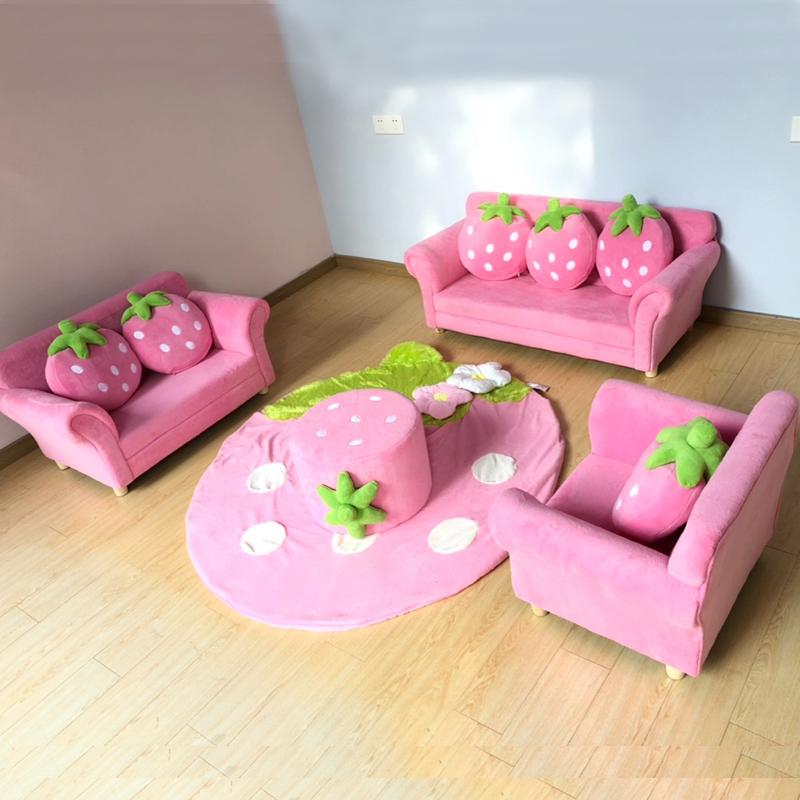 イチゴの子供用ソファかわいいキャラクター布芸シングルセットソファ幼稚園の赤ちゃんソファ