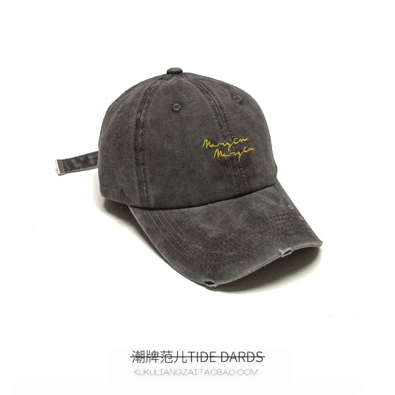 灰色潮牌棒球帽男女做旧磨边街头学生春夏季休闲百搭遮阳鸭舌帽子