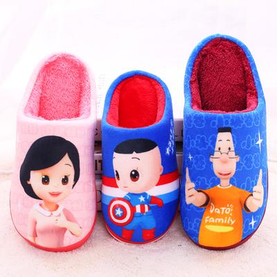 儿童棉拖鞋包跟厚底男童大头儿子亲子拖鞋冬男孩女童中童小童保暖
