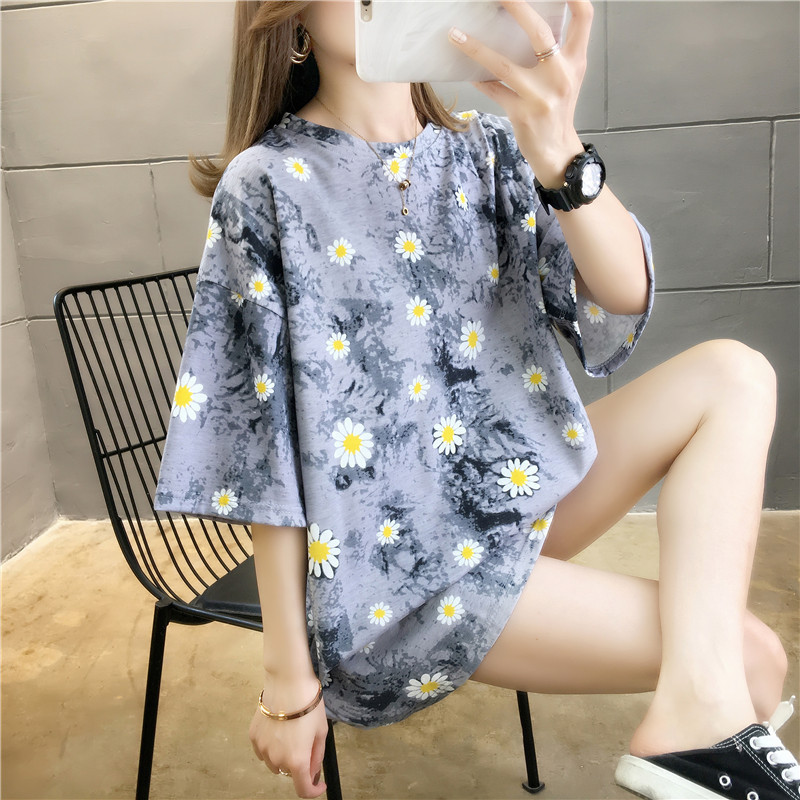 Tie dye small daisy short sleeve T-shirt womens wear 2020 Summer Edition ins students wear loose large size clothes