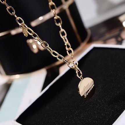 韩版圆牌钛钢镀14k真金网红锁骨链