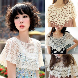 2016 spring and summer vivi Japanese vintage openwork crochet lace small cape women s shawls waistcoat outside the ride Blouse