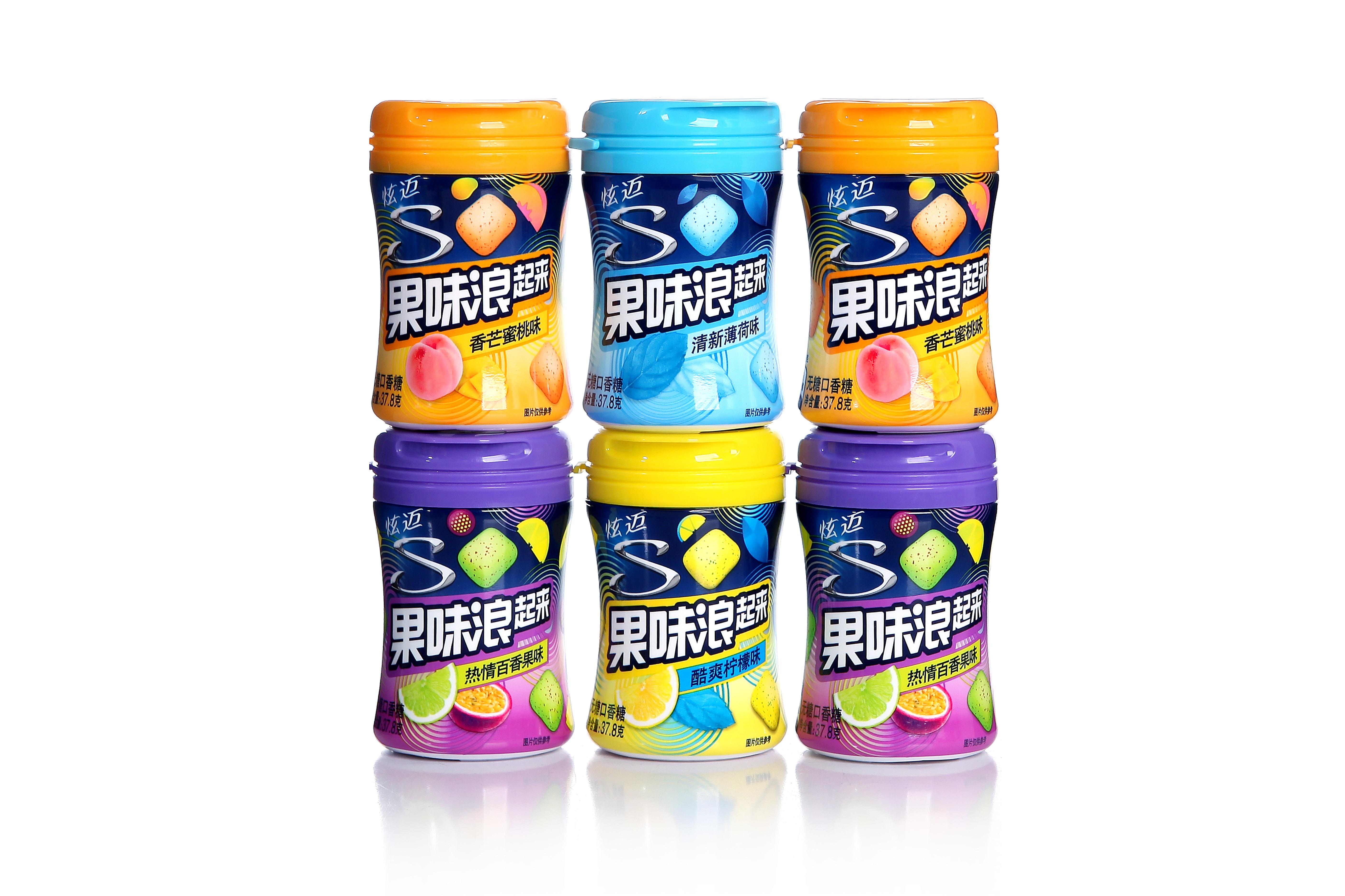 新品炫迈无糖口香糖炫迈果味浪起来37.8克*6瓶木糖醇口香糖批包邮