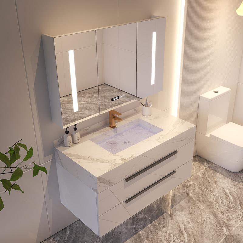 轻奢岩板一体现代简约浴室柜组合洗手洗脸面池卫生间洗漱台盆套装