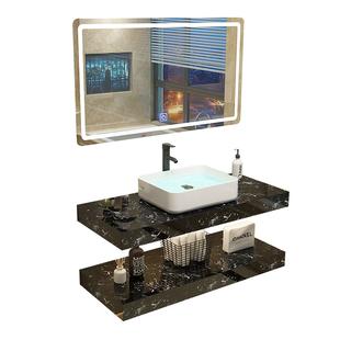 現代輕奢浴室櫃組合雙層大理石洗手盆掛牆式小户型洗臉盆洗漱台池