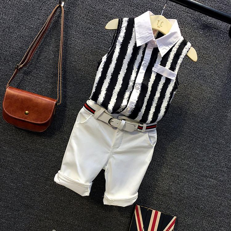 童装夏装雪纺套装男童新款欧美时尚条纹无袖衬衫短裤两件套2019潮