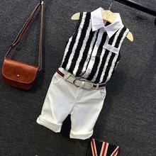 童装夏装雪纺套装男童新款欧美时尚条纹无袖衬衫短裤两件套2021潮