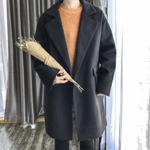 港风秋冬男士宽松中长款毛呢大衣学生呢子外套风衣