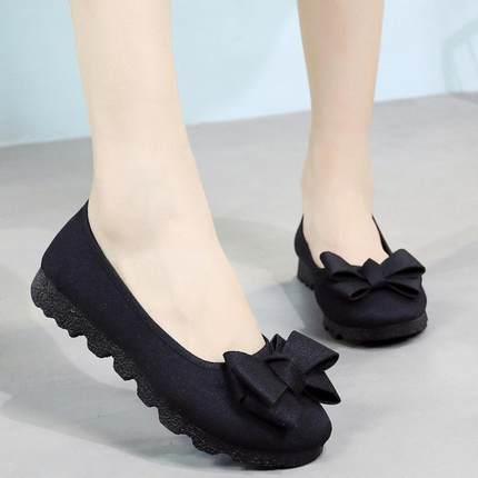 2018新款秋季老北京布鞋女鞋平底单鞋黑色工作鞋孕妇鞋豆豆鞋41码