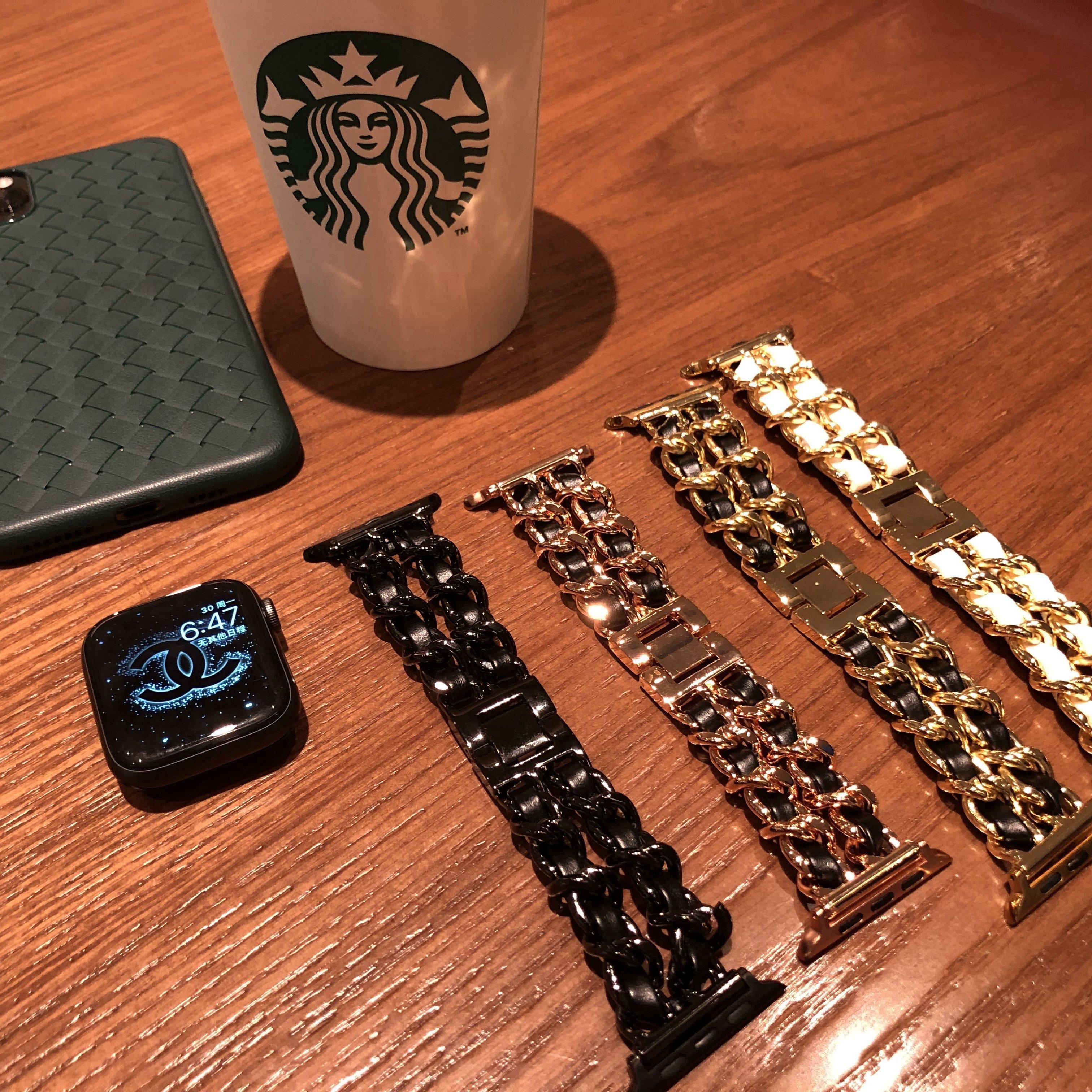 【小香风】适用于iWatch 4/3/2/5/1苹果手表表带apple watch表带真皮绳金属牛仔链条38/40mm女乐雨静静的表带