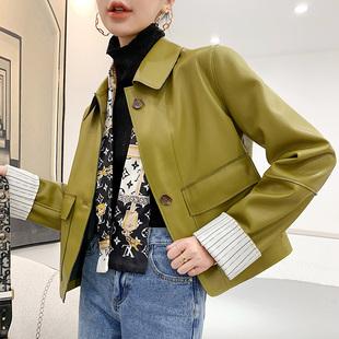 小皮衣女長袖短款牛油果色PU皮衣外套小個子袖口翻邊修身皮夾克秋