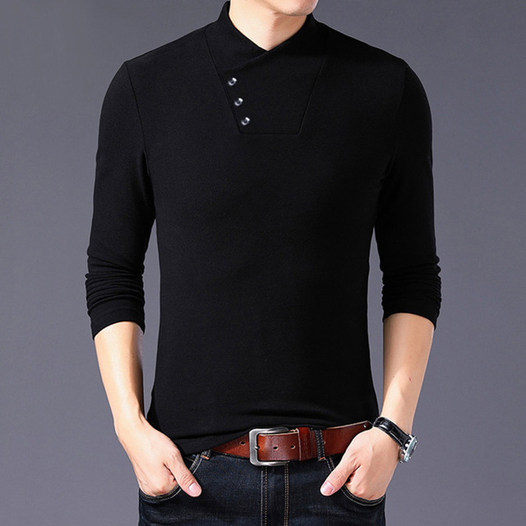 Mens half high collar Long Sleeve T-Shirt Large Size Leisure Sports Youth trend mens wear base coat pure cotton spring new product