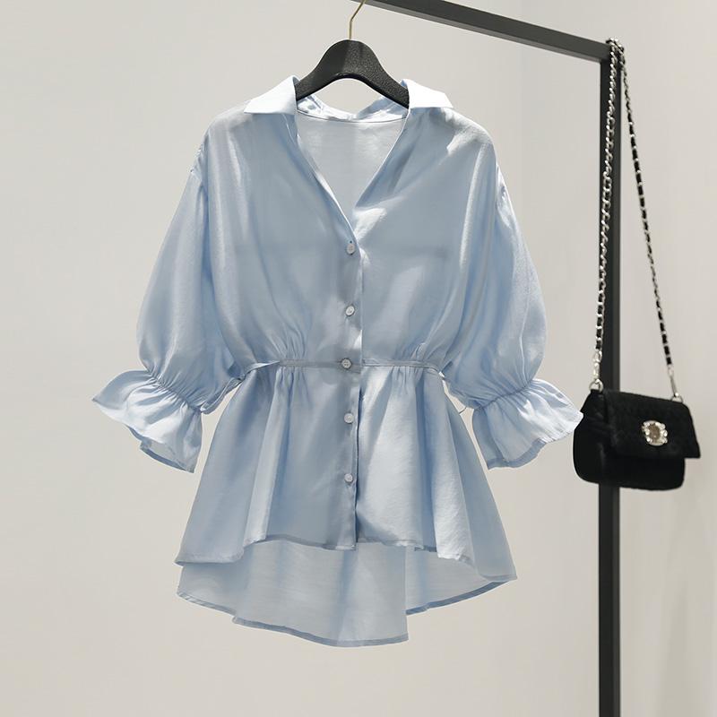 V领收腰裙摆衬衫女夏2020新款韩版雪纺宽松荷叶边上衣娃娃衫薄款