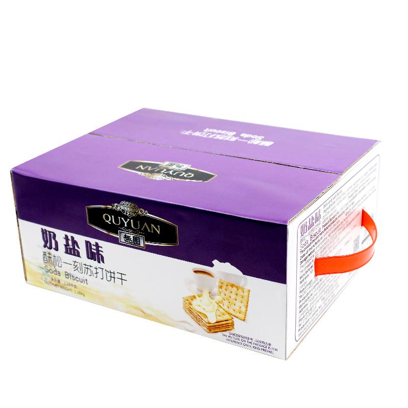 ~天貓超市~趣園 梳打餅幹奶鹽味1.28kg 箱辦公室 零食食品○
